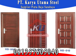 Distributor Pintu Rumah Bahan Baja Steel Door Warna Coklat Kayu Surabaya Sidoarjo