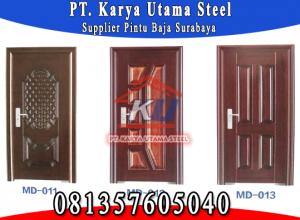 Jual Pintu Baja Surabaya Sidoarjo Steel Door Motif Kayu Anti Rayap