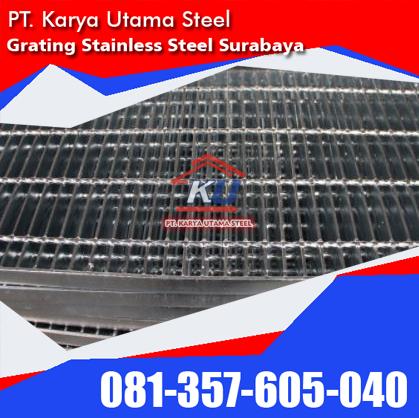 Grating Stainless Steel Surabaya Penutup Saluran Air Tahan Karat Untuk Kolam Pabrik Tempat Wudhu